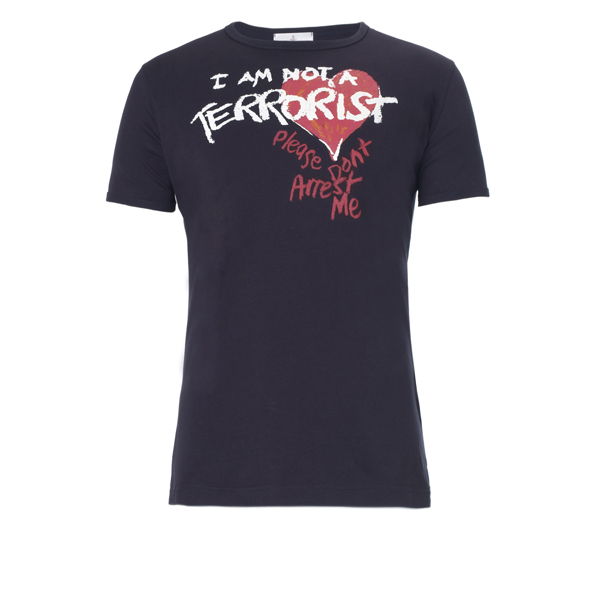Men Vivienne Westwood I AM NOT A TERRORIST T-SHIRT NAVY Outlet Online