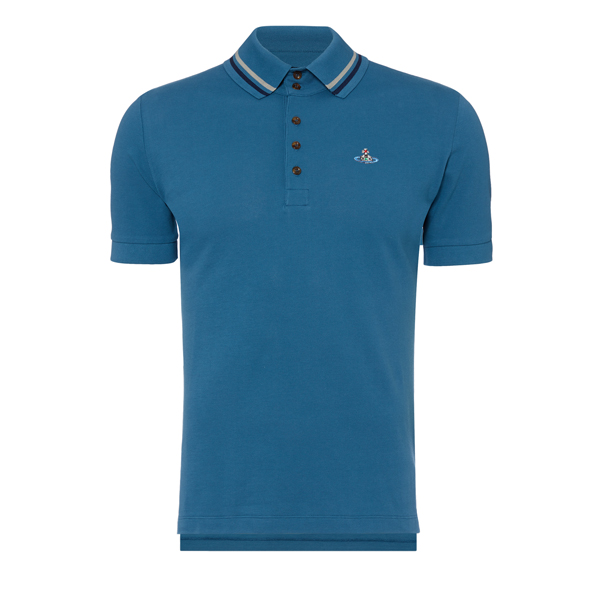 Men Vivienne Westwood KRALL PIQUET POLO SHIRT BLUE Outlet Online