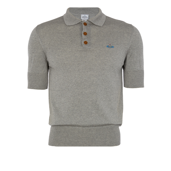 Men Vivienne Westwood CLASSIC SHORT SLEEVED POLO KNIT GREY Outlet Online