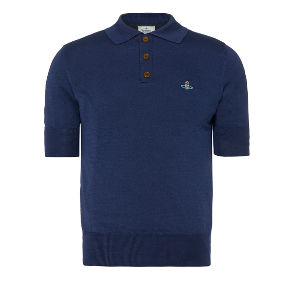Men Vivienne Westwood CLASSIC SHORT SLEEVED POLO KNIT BLUE Outlet Online
