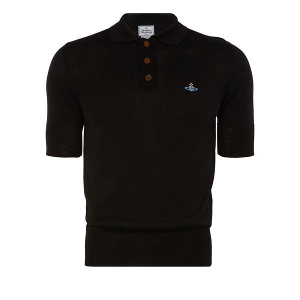 Men Vivienne Westwood CLASSIC SHORT SLEEVED POLO KNIT BLACK Outlet Online