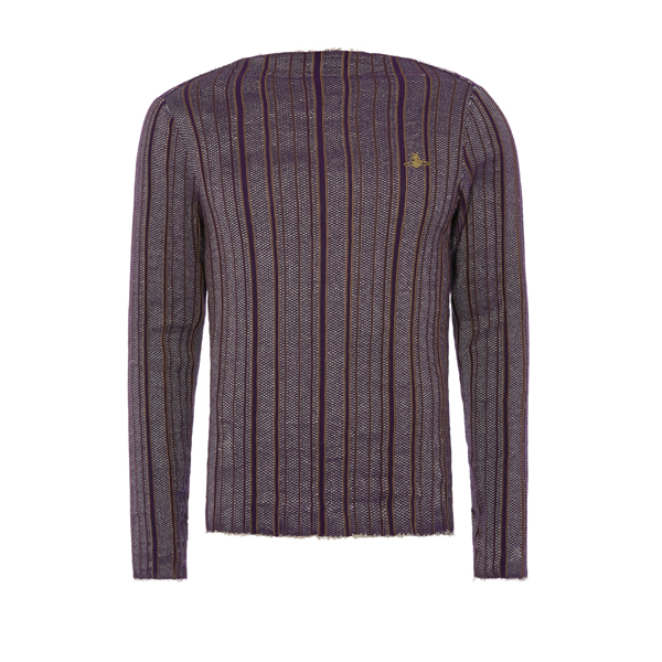 Men Vivienne Westwood SQUARE SWEATER PURPLE STRIPES Outlet Online