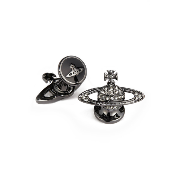 Men Vivienne Westwood MINI BAS RELIEF CUFFLINKS BLACK DIAMOND Outlet Online