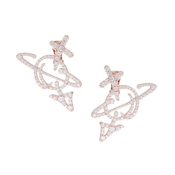 Men Vivienne Westwood UNISEX ORB EARRINGS PINK GOLD Outlet Online