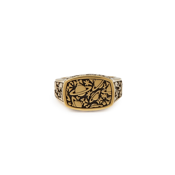 Men Vivienne Westwood STERLING SILVER ANGELO RING GOLD Outlet Online