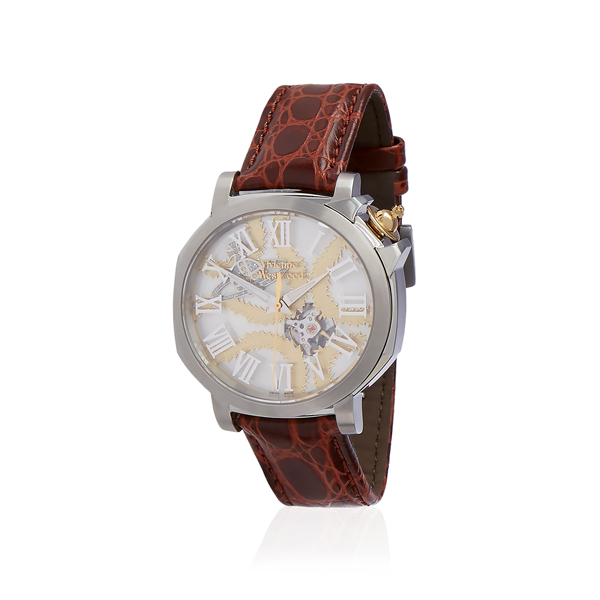Men Vivienne Westwood BROWN SQUIGGLE SWISS WATCH Outlet Online