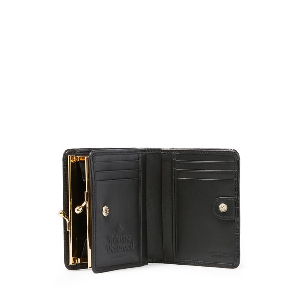 Women Vivienne Westwood ROYAL OAK WALLET WITH COIN POCKET 321445 BLACK Outlet Online
