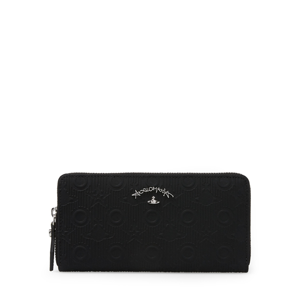 Women Vivienne Westwood CHILHAM ZIP ROUND PURSE 390012 BLACK Outlet Online