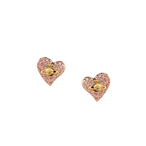 Women Vivienne Westwood TINY DIAMANTE HEART STUD EARRINGS LIGHT ROSE Outlet Online